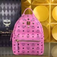 MCM Small Stark Crystal Four Studded Backpack In Pink