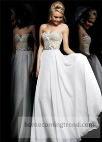Long White Beaded Cheap Prom Dresses Under 200