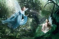 Annie Leibovitz's Disney Dream Portrait Series: Julie Andrews portraying the Blue Fairy from Disney's �€˜Pinocchio' with her �€˜apprentice' fairy, portrayed by starlet Abigail Breslin