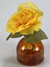 Miniature Glass Flower Vase with Yellow Flower $7.00
