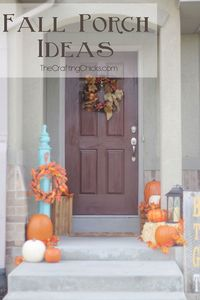 Great ideas for decorating a fall porch. Can even do this with small porches!