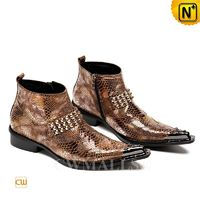Men Leather Shoes | CWMALLS® New York Mens Embossed Leather Hippie Boots CW707218 [Global Free Shipping]