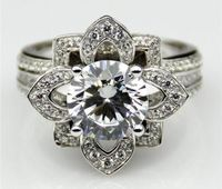 A Museum Floral 3.42CT Round Cut Russian Lab Diamond Ring $299.00
