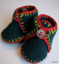 Upcycled Felted Sweater Baby Booties