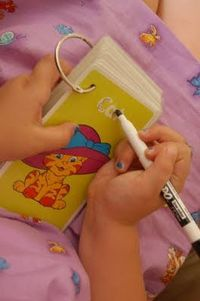 Laminate a set of flash cards, put a binder ring around them, and toss them in your purse with a dry erase marker to entertain little ones