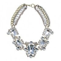 Fashion Jewelry Chain Crystal Glass Collar Choker Statement Pendant Bib Necklace