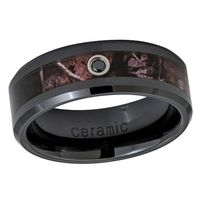 Personalized Inside Custom Engraving Ceramic Wedding Band Promise Ring 8mm 0.07ct Black Diamond Camouflage Black Ring - ZDPBDCR467-8MM $83.00