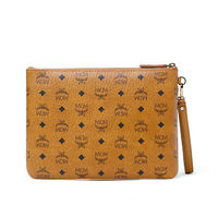 MCM Medium Stark Visetos Wristlet Pouch In Brown