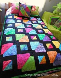 Colorful quilt pattern! Love this batik look!