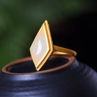 Golden Inlay Ring - Branch Open Ring - boho ring - White jade solitaire ring - rings for women stone - Golden rings for women
