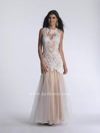 Ivory lace evening dress by Dave and Johnny 732  Ivory lace evening dress by Dave and Johnny 732