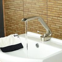 Contemporary Style Single Handle One Hole Nickel Brushed Bathroom Sink Faucet