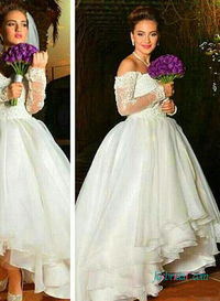 H0442 Romance off the shoulder high-low organza wedding dress