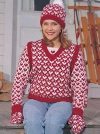 Hearts in the Snow Knitting Pattern - Free Hat, Sweater & Mittens Knitting Pattern