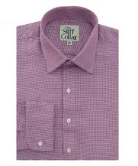 Burgundy Houndstooth 2 Ply Cotton French Cuff Shirt �'�2499.00