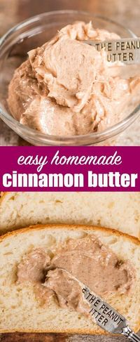 Homemade Cinnamon Butter Recipe that is lightly sweetened. Perfect for pancakes, toast, homemade bread, pumpkin rolls or homemade biscuits. Cinnamon Butter {How To Make an Easy, Sweet Cinnamon Butter #cinnamon #butter