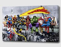 MORE Marvel & DC Superheroes Lunch Atop A Skyscraper! - Mounted Canvas Wall Art £19.99
