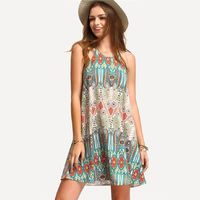Plus Size 5XL Women Summer Dress Vestidos Boho Printed Sleeveless Mini Dress Loose Casual Dress Female Short Beach Style Dress $29.00