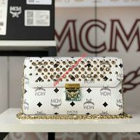MCM MEDIUM MILLIE DIAMOND VISETOS FLAP CROSSBODY IN WHITE