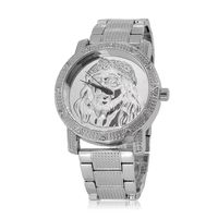 Men's Silver Plated Jesus Dial Crystal Studded Bezel Watch £25.95