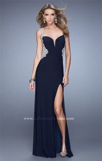 Black Long Split Prom Dresses by La Femme 21024 for Cheap