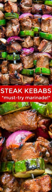 These grilled steak kebabs are juicy and mouthwatering-delicious! It marinates overnight which makes the steak kebabs tender and so flavorful.   natashaskitchen.com