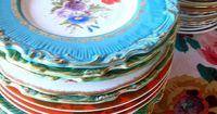 Bright gypsy color vintage plates
