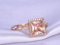 Morganite Rose Gold Engagement Ring 7mm Cut Princess Cut Morganite Ring Art Deco Diamond Matching Band Marquise Disign Ring 14K Rose Gold