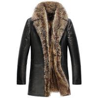 Chicago Mens Raccoon Fur Leather Coat