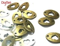 Pack of 8 Oval Bronze or Silver Connector Heart Charms. 13mm x 20mm. Jewellery Metal Pendants. Valentine's Day, Mother's Day and Weddings £3.39