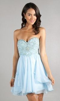 2014 Ice Blue Short Strapless Sparkly Prom Dress $156
