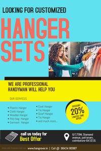 Hanger Manufacturers in Tirupur and Karur. 8+ Year of Experience. We Hangrover Most Trusted Hangers in Coimbatore, Chennai, Cochin and Bangalore. Suppliers and Exporters, Wholesale Dealers, Quality Assured. Order Now ! Get a Quote Today ! High cost-effect...