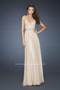 Pleated Bodice Nude Prom A-line Strapless La Femme 18457 Dresses 2013