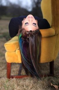 Use oil pastels on sections of hair, then coat with hairspray. - Temporary color for brunettes or blondes