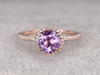 Natural Amethyst Engagement ring Halo Diamond wedding ring 14K Rose Gold Band 7mm Round Cut Purple stone Promise Ring Bridal Ring New Design