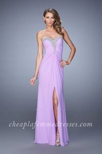 Wisteria Strapless Sweetheart Side Slit Prom Gown By La Femme 21275