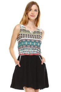 Dress for Women's Crochet Detail Belted Sleeveless Dress �'�900.00