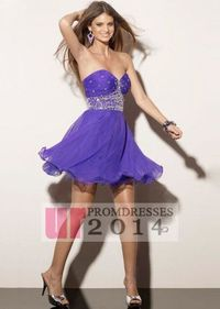 Sequined Strapless Purple A-line Cocktail Dress