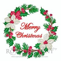 Machine Embroidery Design Christmas floral wreath $5.00