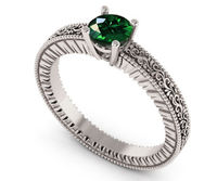 18K White Gold Solitaire Filigree Emerald Ring Unique Milgrain Engagement Ring $935.00