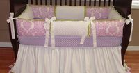 Angel Damask Baby Bedding This custom 3 piece baby crib bedding set includes the bumper pad, crib skirt, and ultra soft lavender minky sheet. The lavender purple damask has a sparkly shine to it. Add in white twill, green COTTON(I no longer use the sa...