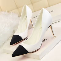 Korean Simple High Heels Pumps Shoes OL job occupation Shoes Pointed Toe Spell Color Single Shoes 8 Colors