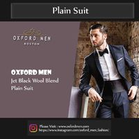 Create a stylish look with this Oxford Men jet black wool blend plain suit. Woven in superfine S100 wool, this plain suit has a very fine finish.  �€�100% Superfine S100 Wool  �€�Wearable throughout all seasons  �€�Dry clean on...