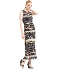Elementz Sleeveless Printed Smocked Maxi Dress