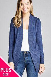 Long Sleeve Rib Banded Open Sweater Cardigan W/pockets $24.51