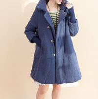 Women large size Cloak padded Coat in blue/ Brick red