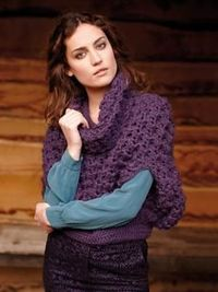 """Free Pattern """"Nicole"""" from Rowen: Crochet this stunning textured, poncho style caplet, the member's monthly exclusive free pattern for January. Designed by Lisa Richardson and using the beautiful yarn Kid Classic (lambswool and kid moh..."""