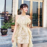 Split Front Embroidery Slimming Off-the-Shoulder High Waisted Frilled Lace Dress Skirt - Bonny YZOZO Boutique Store