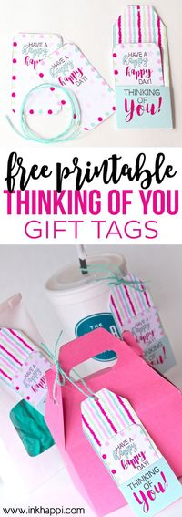 Print out these FREE Printable Thinking of You Gift Tags for a special gift for a friend! They'll definitely brighten up anyone's day! Hello! I'm Jillene. I'm e