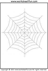 "Spider Web Tracing and Coloring �€"" 2 Halloween Worksheets"